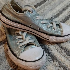 Girl's Converse- size 1, silvery light aqua green